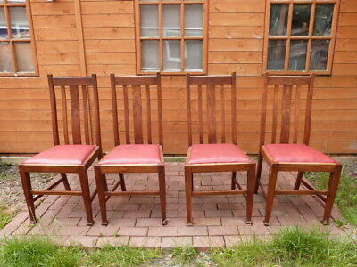 Set Of Four Antique Vintage Arts & Crafts Style Oak Chairs Gaskill & Chambers