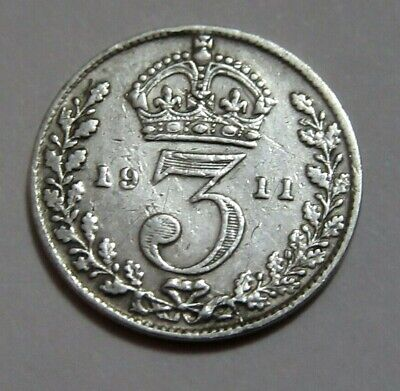 1911 Sterling Silver Threepence King George V th