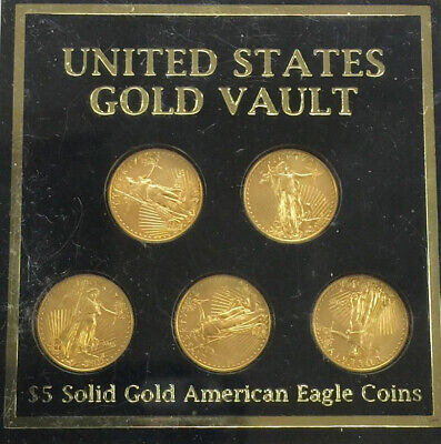 United States $5 Gold 2015 American Eagle Coin Set of 5 Coins 1/10 oz. Each