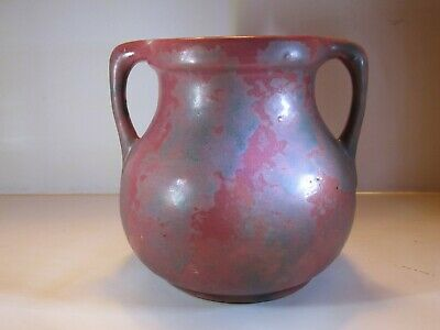 VTG Burley Winters Spotty Over Dark Pink Or Re Twin Handled Art Pottery Vase #54