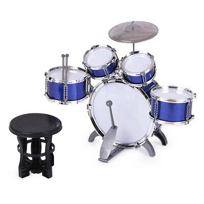Children Drum Set Musical Instrument Toy 5 Drums with Small Cymbal Stool