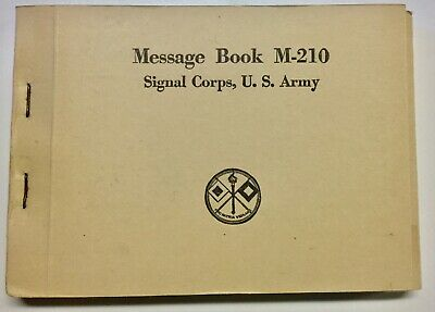 'US Army Signal Corps M-210 Message Book' for WWII M209 Converter Cipher Machine