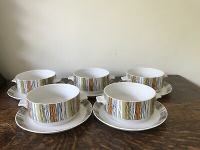 5 x Retro Staffordshire Pottery Midwinter Sienna Soup Cups and Saucers - VGC