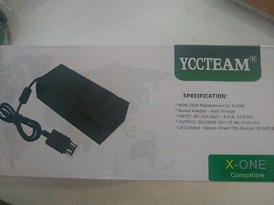 Xbox One Power Supply Brick YCCTEAM  AC Adapter Cord Replacement Charger Black
