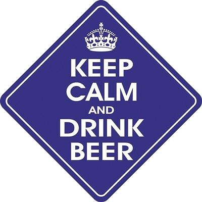Keep Calm Drink Beer Diamond shaped Car Window Hanger Graphics & Pinstripes