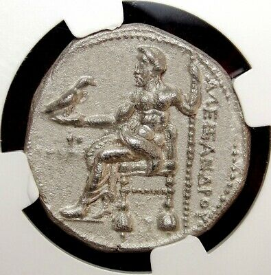 NGC XF. Alexander The Great Tetradrachm.Spectacular ancient Greek coin Tyre mint