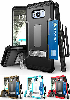 Tri-Shield Case Stand Strap + Belt Clip Holster For Samsung Galaxy S8 Plus, S8+