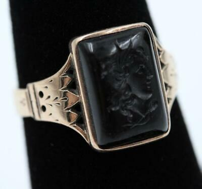 1860s ANTIQUE VICTORIAN 10K ROSE GOLD INTAGLIO BLACK ONYX CAMEO SIZE 7 RING