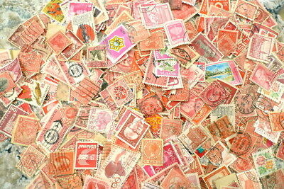 100 Assorted RED Cancelled Postage Stamps Vintage USA & Foreign