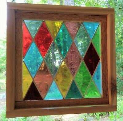 Stained Glass Panel, Mid Century, Mouth Blown - Framed - Diamonds