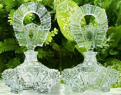 "2 Vintage Perfume Bottles~Perfectly Matching Pair~MINT~6""~RARE~Very Collectible"