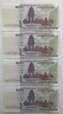 4x Consecutive Cambodia 2001 100 Riel Notes 9213256 9213257 9213258 9213259