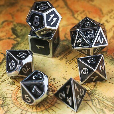 7Pc Metal Dice Set DND RPG MTG Role Playing Game D&D Dungeons and Dragons, Black