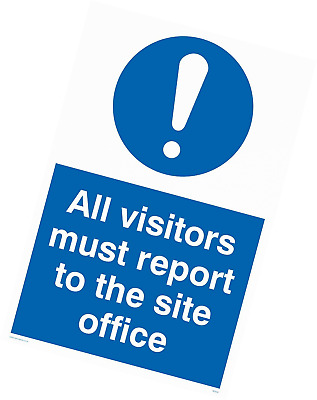 "Viking Signs MC5397-A2P-3M""All Visitors Must Report To Site Office"" Sign, 3 mm P"