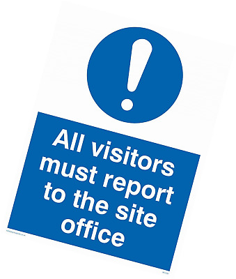 "Viking Signs MC5397-A1P-1M""All Visitors Must Report To Site Office"" Sign, 1 mm P"
