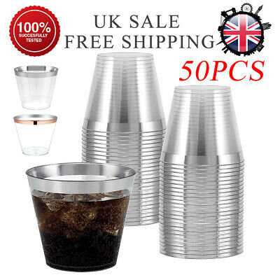 50x Disposable Plastic Wine Glass Party Wedding Juice Champagne Cocktail Cup Set