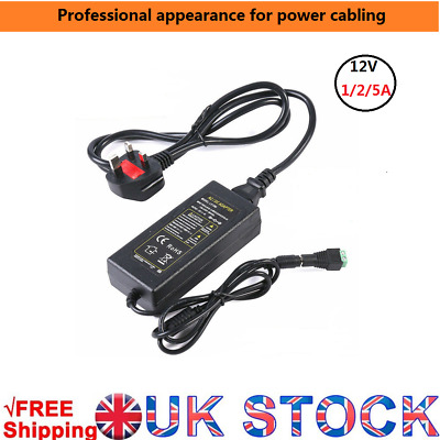 12V Power Supply LED Driver Adapter Transformer DC female Connector 1A 2A 5A UK