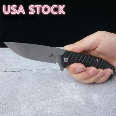 D2 Blade G10 Handle Tactical Flipper Folding Outdoor Survival Camping EDC Tool