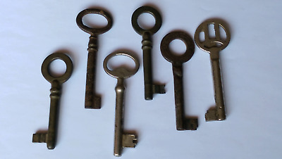 6 Antique Vintage Skeleton Keys Lock Iron Hollow/Furniture Barrel Key #122