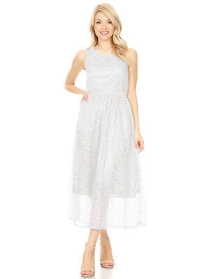 Lady Womens Sleeveless Long Floral Lace Midi Cocktail Formal Dress party