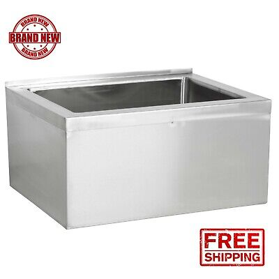 """33"""" Stainless Steel 28"""" x 20"""" 6"""" Bowl Floor Mop Sink Commercial Utility Drain"""