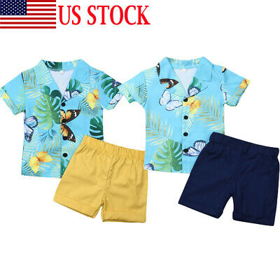 US Toddler Baby Boy Hawaii Suit Flower Shirt+Shorts Pants Summer Outfits Clothes
