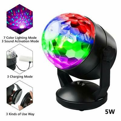 Sound Active RGB LED Stage Light Crystal Ball Disco Xmas Club DJ Party With USB