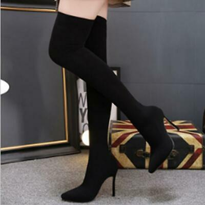 Womens Pointed Toe Elastic Socks Over Knee High Thigh Boots Stilettos Sexy Shoes