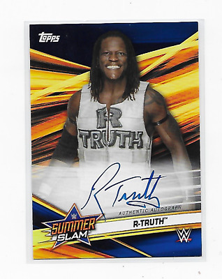 R-Truth 2019 Topps Wwe Summerslam Auto Blue /50 Rare On Card Autograph Clean