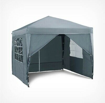 Pop Up Gazebo 2x2 Outdoor Garden Marquee 4 Sides Water-resistant Cover Tent Grey