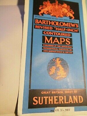 North Scotland,Sutherland 1948 Map: Vintage Bartholomew-Topographic Colour,Rail