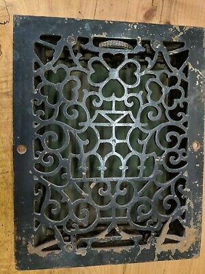 001...Antique Cast Iron Deco Heat Grate w/LOUVERS Floor Vent Register 10.75x13.5