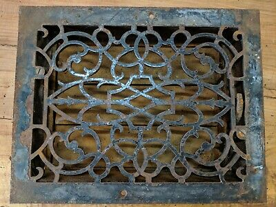 002...Antique Cast Iron Deco Heat Grate w/LOUVERS Floor Vent Register 10.75x13.5