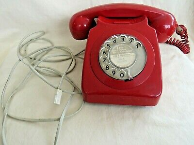 Vintage 746F Dial Telephone. Red. Converted, Tested & Ready To Use.