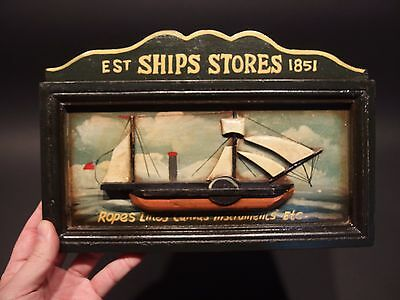Vintage Antique Style Wood English Pub Ship Stores 1851 Sailor Trade Sign