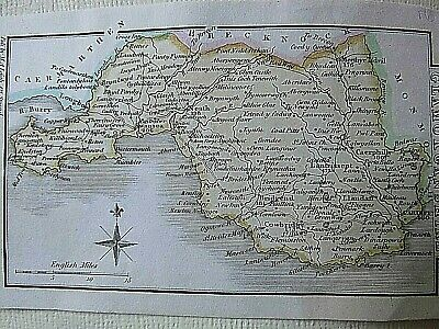 GLAMORGANSHIRE WALES:ANTIQUE COPPER PLATE MINIATURE MAP C.1805-1830 by M A LEIGH