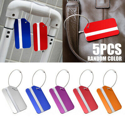 5pcs Aluminium Metal Luggage Suitcase Holiday Travel Name ID Tags Label Durable