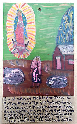 Mexican Retablo Exvoto Lady of Guadalupe Deadly Fall from Donkey