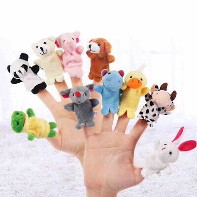 10 Pcs Finger Puppets Doll Kids Baby Educational Hand Cartoon Animal Family Toy