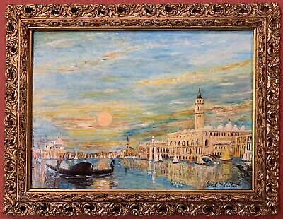 Paul Flaubert (1928-1994) Signed French Impressionist Oil - Grand Canal Venice