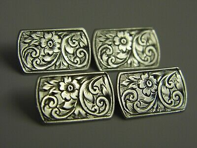 A Superb Pair of Antique Edwardian Solid Sterling Silver Mens Cufflinks