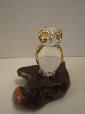 Owl Bird Figure Glass & 22 kt gold on Natural Burl Wood Base. Vintage