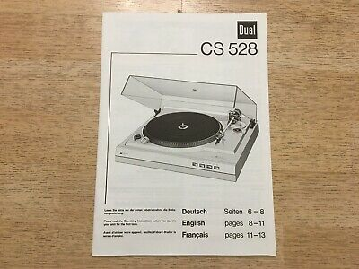 Dual CS528 Owner's Manual Instruction Book 2-Speed Belt-Drive Turntable 0429