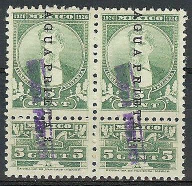 Mexico 1926 Revenue 5c two overprints Vallarta Agua Prieta pair MNH