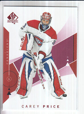 18/19 Ud Sp Authentic Carey Price Red Base Parallel #75
