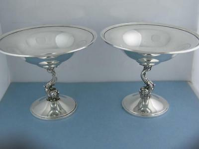 RARE Sterling JOR The Randahl Shop ~ pair of Compote Dishes w/ figural Dophins