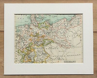 c.1900 Antique Small Map - Germany Prussia Bavaria - Mounted