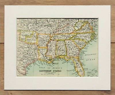 c.1900 Antique Small Map - South Eastern United States of America USA - Mounted