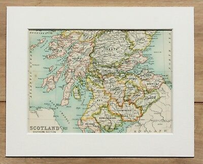 c.1900 Antique Small Colour Map - Southern Scotland Counties - Mounted