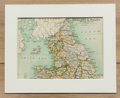 c.1900 Antique Small Colour Map - Northern England Wales Counties - Mounted